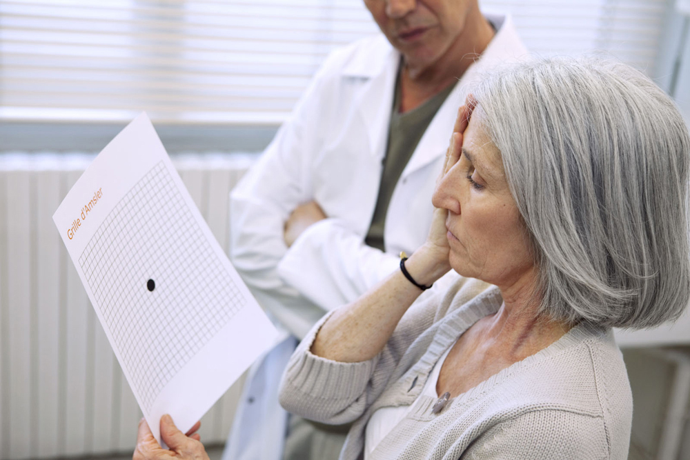 Woman getting tested for Macular Degeneration.